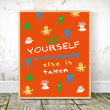 Children's Prints, Playroom Decor, Printable Wall Art, Alien, Red, Kids art, Positive, Affirmation, Socky Wocky, playroom, kids bedroom art.