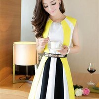 free belt yellow elegant dress unique style final sale l241 from YRBcollection