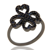 Pave Blue Sapphire Heart Design Oxidized Sterling Silver Ring