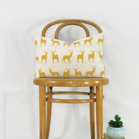 Mustard Deer Pillow Cover - Decorative Pillow - Colorful Accent - Stag Cushion - Spring summer decor - Yellow and Cream 12x18 Lumbar Pillow