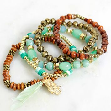 Desert Treasures Beaded Bracelet Brown/ Mint