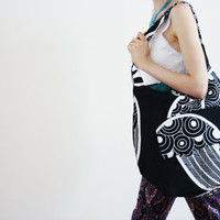 Black Tote White Peacock feather Vegetal Dye Organic Eco-friendly Sustainable Cotton Canvas lined & pockets back to school bag BLACK PEACOCK