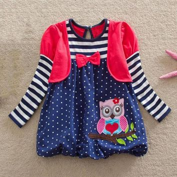 MUQGEW Girls winter dress Baby Girl dresses Long Sleeve Stripe Dot Cartoon Owl Party Dress Outfits Clothes vetement enfant fille