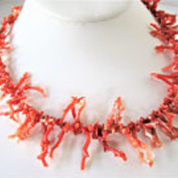 Coral Branch Necklace, Coral Branches,  Gold Screw Clasp, Vintage Choker