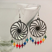 Rainbow Swarovski crystal and silver swirl chandelier earrings.