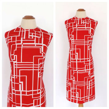 Vintage 1960s Groovy Mod Mini Shift Dress Red and White Geometric Print 60s Tank Dress Mod Babydoll Dress Mad Men Retro Summer Sundress