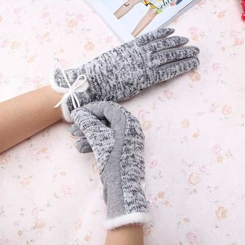 New Brand Women's Winter Cotton Wool Gloves Elegant Warm White Plush Bow Glove Mittens Cashmere Mitaine Guantes