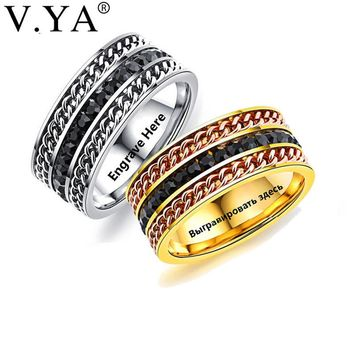 V.YA Fashion Men's Ring The Punk Rock Accessories Stainless Steel Black Chain Spinner Rings For Men Silver & Gold Color Man Gift