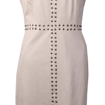 International Concepts Women's Studded V-Neck Dress (10, Warm Vanilla)