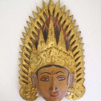 Carved Wooden Mask Wall Hanging Vintage Indonesian