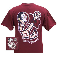 New FSU Florida State Seminoles Chevron Anchor Bow Girlie Bright T Shirt