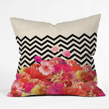 Bianca Green Chevron Flora 2 Throw Pillow