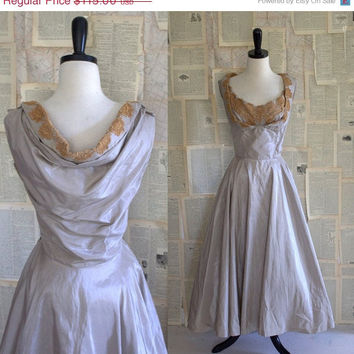 SALE Vintage 1940s Dress 40s Taffeta Lace Semi Formal Dress Draped Back Womens Size Medium