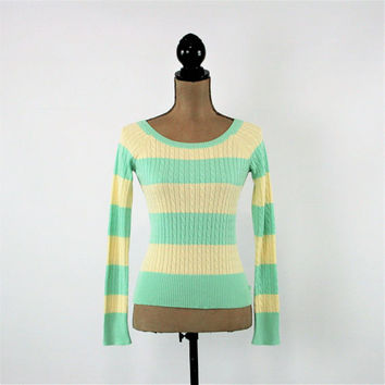 80s 90s Mint Green and Cream Striped Pullover Sweater Women Small Long Sleeve Knit Top Aeropostale Vintage Clothing Womens Clothing