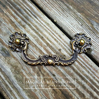 KBC French Vintage Brass Drop Bail Pulls & Rosettes by MagicalBeansHome.com & MagicalBeansHome Etsy