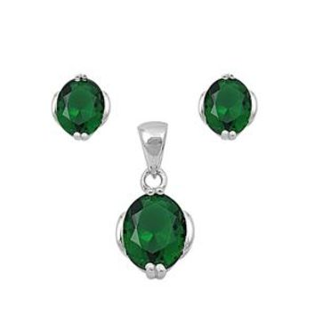Perfect Oval Cut Emerald Green Earring and Necklace Set