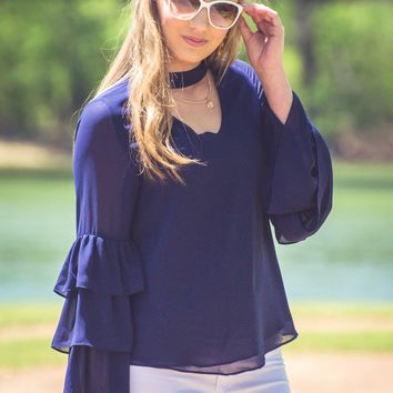 Navy Belle Luna Top