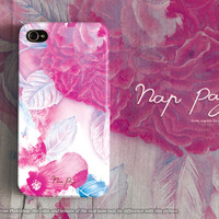 apple iphone case : abstract pink flowers with watercolor