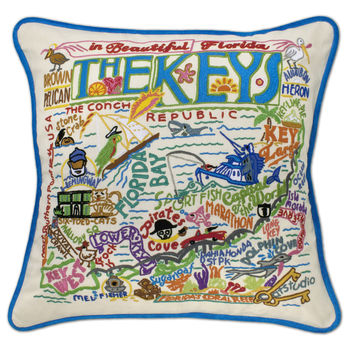 Florida Keys Hand Embroidered Pillow