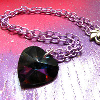 Rainbow Brite - Heart Shaped Rainbow Crystal Necklace With Super Awesome Lavender Chain