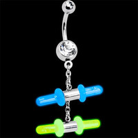 GLOW STICK DUO Crystalline Gem Chain Dangle Belly Ring | Body Candy Body Jewelry