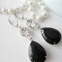 Noir Earrings. Black and Crystal Clear Rhinestone Drop Earrings, Old Hollywood Glam, Elegant Statement Earrings, Bridesmaid Earrings