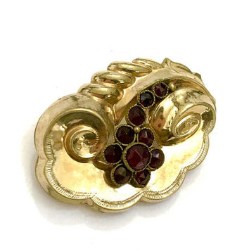Victorian Garnet Pinchbeck Brooch/Pendant, Floriated Dimensional Design, Swirling Gold Repousse, Garnet Floral Spray, Antique Gift for Her