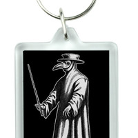Plague Doctor Keychain Bird Mask Key Ring Black Death 1334