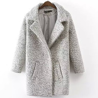 Retro One Button Mix-Color Dust Coat Woolen Outerwear