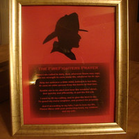 Firefigher Silhouette Picture - Framed Firefighter Prayer/ Firefigher Silhouette - Home Decor
