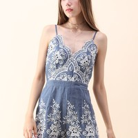 Flowery Darling Cami Denim Playsuit