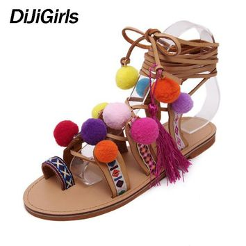 Plus Size 35-41 Ethnic Bohemian Summer Woman Pompon Sandals Gladiator Roman Strappy Knee High Embroidered Tassel Shoes