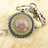Pink Scallop Seashell Pendant Keychain / Purse Charm / Zipper Pull with Sand and Shell from Sanibel Florida