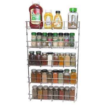 Evelots 5 Tier Wall Mount Multipurpose Spice Rack-Pantry Cabinet Door Storage