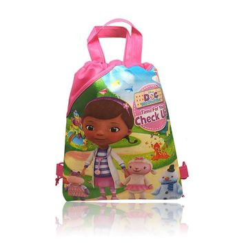 30pcs Doc McStuffins Childrens Cartoon Drawstring Backpack Bags,Non-Woven Fabric Multipurpose Bags 34*27CM Party Favors
