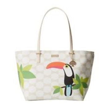 NWT Kate Spade Harmony Bag / For The Birds Toucan / Sandy Beach Bow Tile / Cream