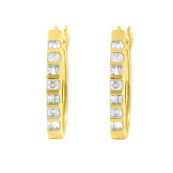 10K Yellow Gold 0.25 CTTW Diamond Hoop Earrings