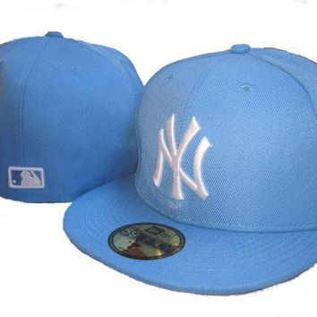 ESBON New York Yankees New Era MLB Authentic Collection 59FIFTY Cap Light Blue-White