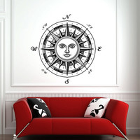 Compass Rose Wall Decal- Nautical Compass Rose Wall Decal- Compass Navigate Ocean Wall Decal- Living Room Bedroom Nursery Home Decor 0026