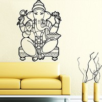 Wall Decal Vinyl Sticker Decals Home Decor Ganesh Hindu Indian God Ganesha Buddha Namaste Yoga Mandala Om Lotus Art Bedroom (6157)