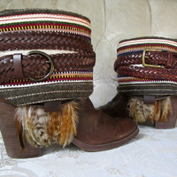 Size 8 Southwestern Boho Boots Upcycled Bohemian Gypsy Hippie Boots