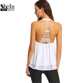 SheIn Eiffel Tower Print Hollow Out Cami Top Vogue Sexy White Backless Lace Double Layer Round Neck Chiffon Tank