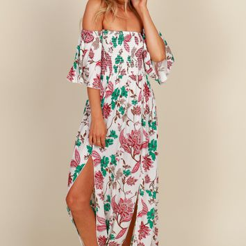Destination Honeymoon Floral Dress Ivory