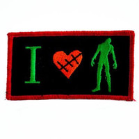 I Love Zombies Iron on Patch Heart Horror Evil Dead Applique