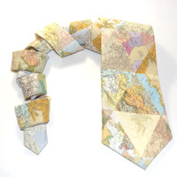 Map Tie, World maps, Map accessory, World traveler gift, map collage, mens tie, geography, teacher tie, teacher gift, cream pastel neutral