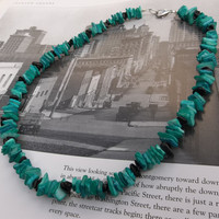 """Unisex / Men's Deep Teal Shell and Black Jasper Chip Necklace // 19"""" // Jewelry for Men"""