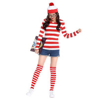 2016 Where's Wally Waldo TV Cartoon Stag Night Outfit Adult Mens Fancy Dress Costumes halloween costume for women cosplay