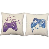Paint Splatter Gaming Controllers Throw Pillows