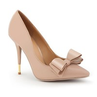 Patent Bow Pump with Gold Accent Heel: Dots.com