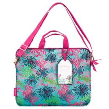 Lilly Pulitzer Laptop Tote with Shoulder Strap - Dirty Shirley Pattern
